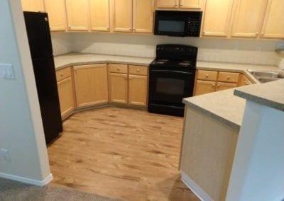 vinyl plank installation in kitchen